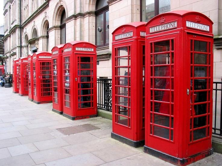 Red telephone boxes in Preston, Lancashire