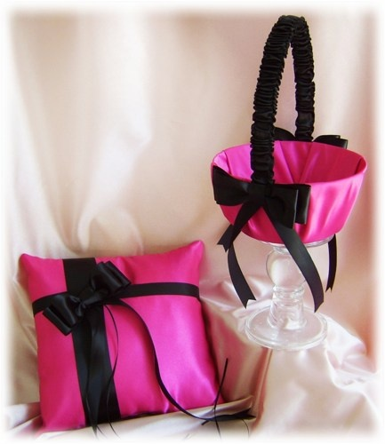 Fuchsia And Black Wedding Flower Girl Basket And Ring Bearer Pillow, Hot Pink Black Wedding Ceremony Decor   All4Brides