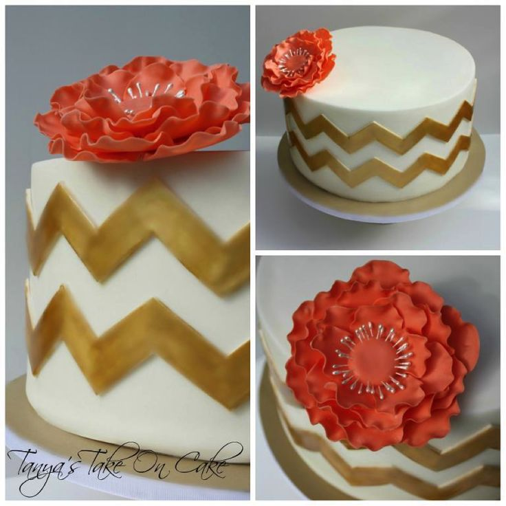 "UNIQUE CAKES:  ""10 Trendy Chevron Cakes""   ~  White and Gold Chevron Cake with Flower"
