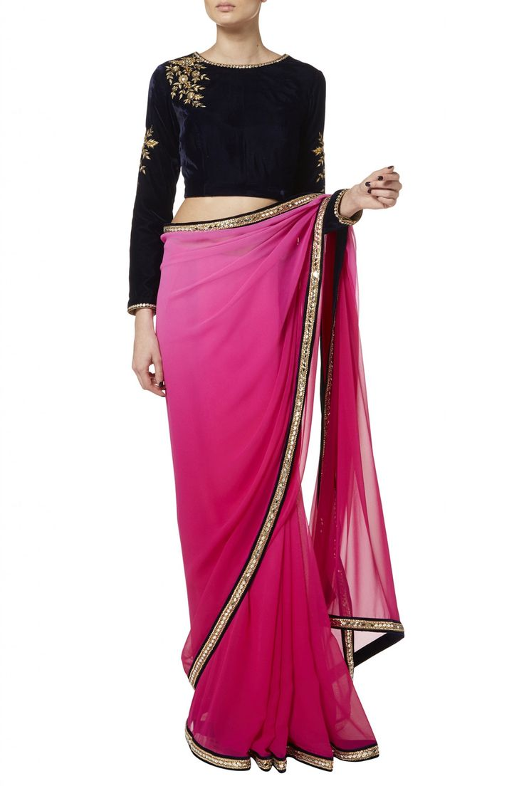 Hot pink sari and navy blouse