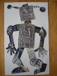 robot collage with embossed foil