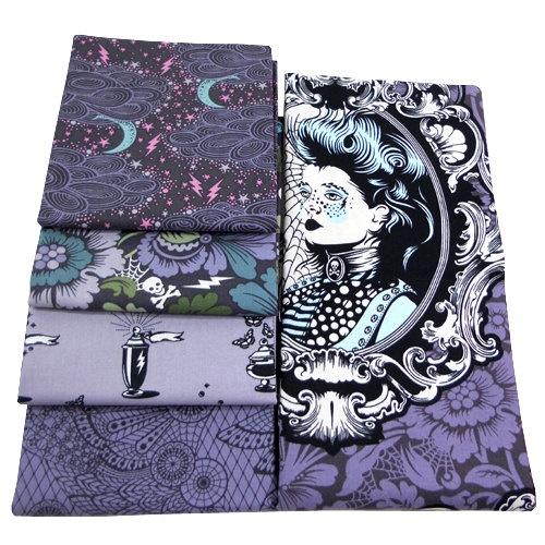Tula Pink - Nightshade Collection - Free Spirit Fabric - Evening Palette - 5 Piece Half Yard Fabrics Bundle - Halloween Goth Steampunk. $23.50, via Etsy.