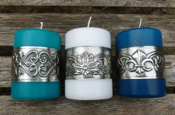 Candle cuffs for standard 7cm diameter candles.  Hand crafted by Caroline @ Pewter Concpets