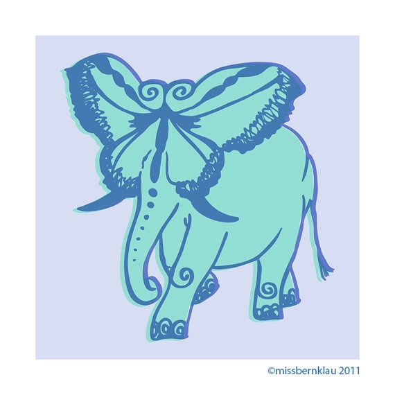 Butterfly plus Elephant equals Elefly 6 x 6 Print by missbernklau, $10.00