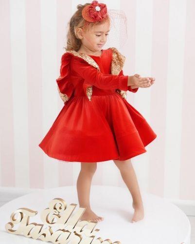 0e778d58c0 Red Velvet Girls Party Dress Holiday Dress Christmas Dress