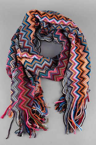 Zee Zig Zag scarf from tobi.  Easy enough to replicate in sc/dc.  Crochet ideas.   http://www.tobi.com/product/42107-joia-zee-zig-zag-scarf?color_id=52608