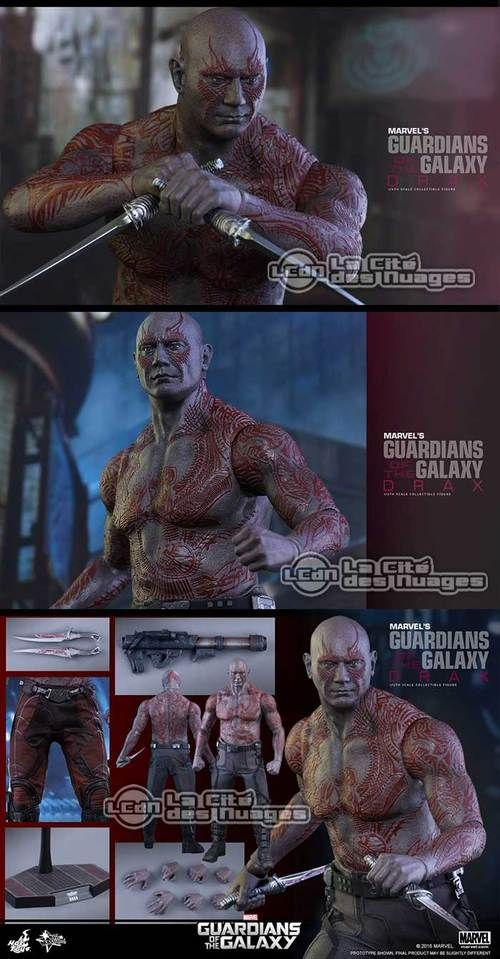 Hot Toys MMS355 Guardians of the Galaxy Drax le Destructeur ( Dave Bautista ) 1/6 Collectible Figurine 32cm