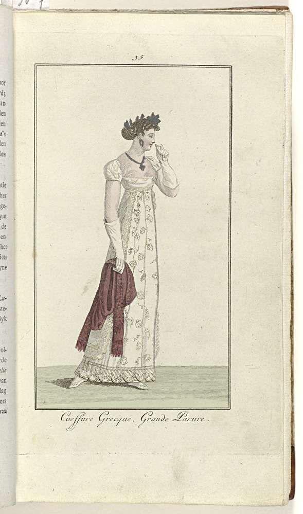 Anonymous   Elegantia, of tijdschrift van mode, luxe en smaak voor dames, Februari 1808, No. 35: Coeffure Grecque..., Anonymous, Evert Maaskamp, 1808   Volgens de begeleidende tekst (p. 64): 'Coëffure grecque'. Japon van mousseline geborduurd met diamanten. Wit satijnen 'biffon'(?) met geborduurde rand. Diamanten oorringen en collier. 'Shawl amaranthe' (sjaal). Wit satijnen schoenen.  Prent uit het modetijdschrift Elegantia, of tijdschrift van mode, luxe en smaak voor dames 1807-1814…