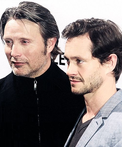 Hugh Dancy & Mads Mikkelsen (They've got the smizing down, no?) Aww, OTP!!!!!!!!!!!! LOVE THEM TOGETHER SO MUCH.