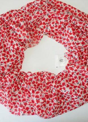 Нежный весенне-летний шарф хомут, снуд с принтом маки из германии. (C