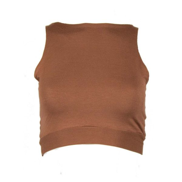 Crop Top ❤ liked on Polyvore featuring tops, brown jersey, cut-out crop tops, crop top, brown crop top and jersey top