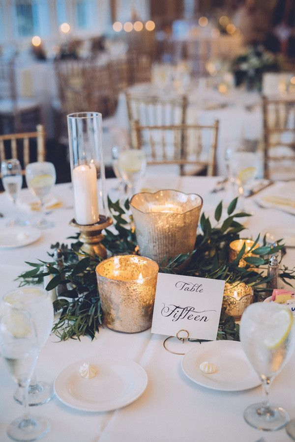 elegant winter wedding table settings centerpiece // greenery, leaves, garland, gold, mercury glass, table numbers, candles, simple
