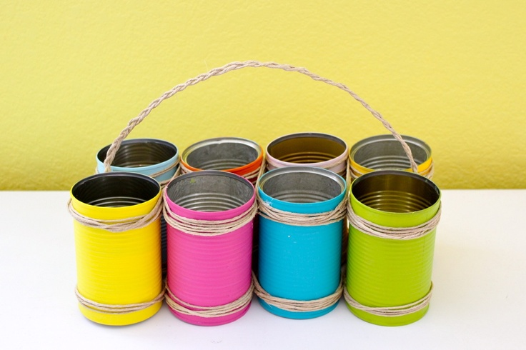 Dana's tutorial on how to paint tin cans for use in pretty things (and ideas for pretty things). This looks to work better than spray painting which is quick but requires wind-free space and doesn't cover as well.