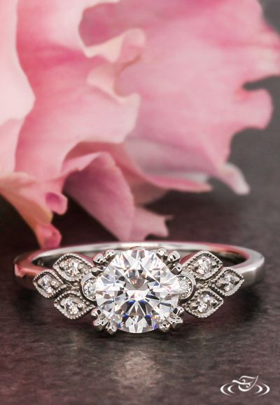 Antique Inspired Engagement Ring. Green Lake Jewelry 111489