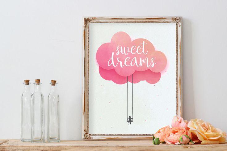 "POSTER PDF PRINTABLE – Baby Sweet dreams. Size 8,2 x 11,7"""