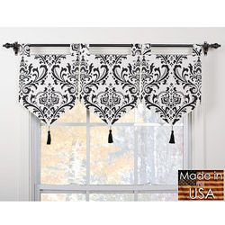 @Overstock.com.com.com.com - These valances feature a classic look suitable for any decor. This valance set is fully lined and is finished with black tassels.  http://www.overstock.com/Home-Garden/Arbor-Ivory-Black-Banner-Valances-Set-of-3/6190843/product.html?CID=214117 $48.99