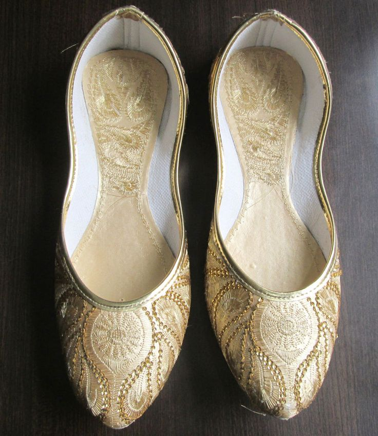 Indian Punjabi juti flat shoes wedding shoes Khussa shoes Mojari Size USA-8 in Clothing, Shoes & Accessories | eBay