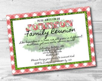 Family Reunion Invitation Printable Simple By 105DesignHouse  Free Printable Family Reunion Invitations