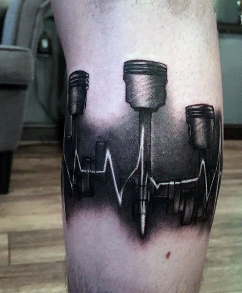 Sound Wave Piston Tattoo On Man