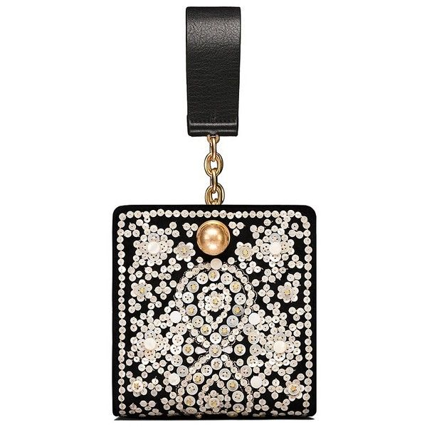 Tory Burch Darcy Embellished Clutch (8.078.985 IDR) ❤ liked on Polyvore featuring bags, handbags, clutches, black, tory burch purse, tory burch, embellished handbags, embellished purse and tory burch handbags