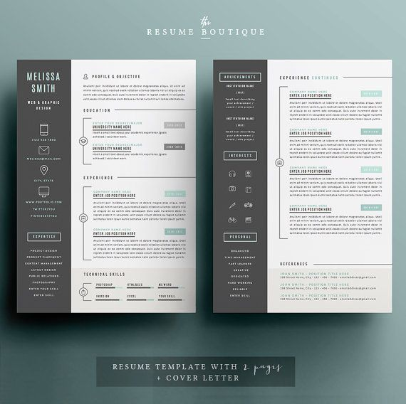 Resume Template 3pk CV Template Cover por TheResumeBoutique