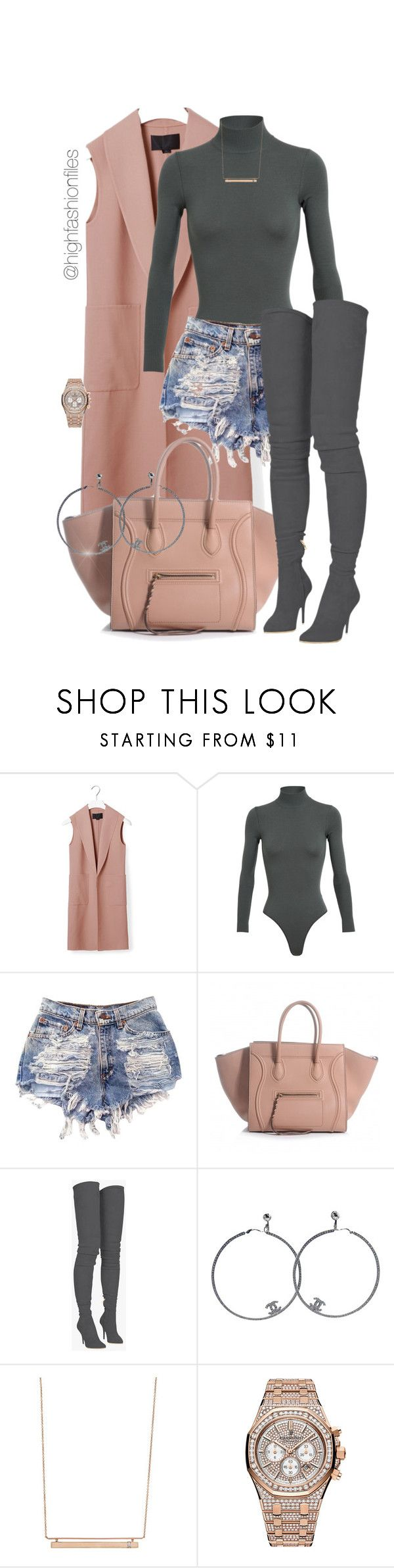 """Untitled #2727"" by highfashionfiles ❤ liked on Polyvore featuring Alexander Wang, Alaïa, Balmain, Chanel, Monique Péan and Audemars Piguet"