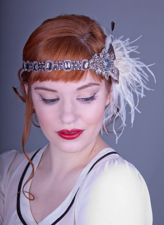 Cocoa And Ivory Ostrich Feather Flapper Headband by BaroqueAndRoll