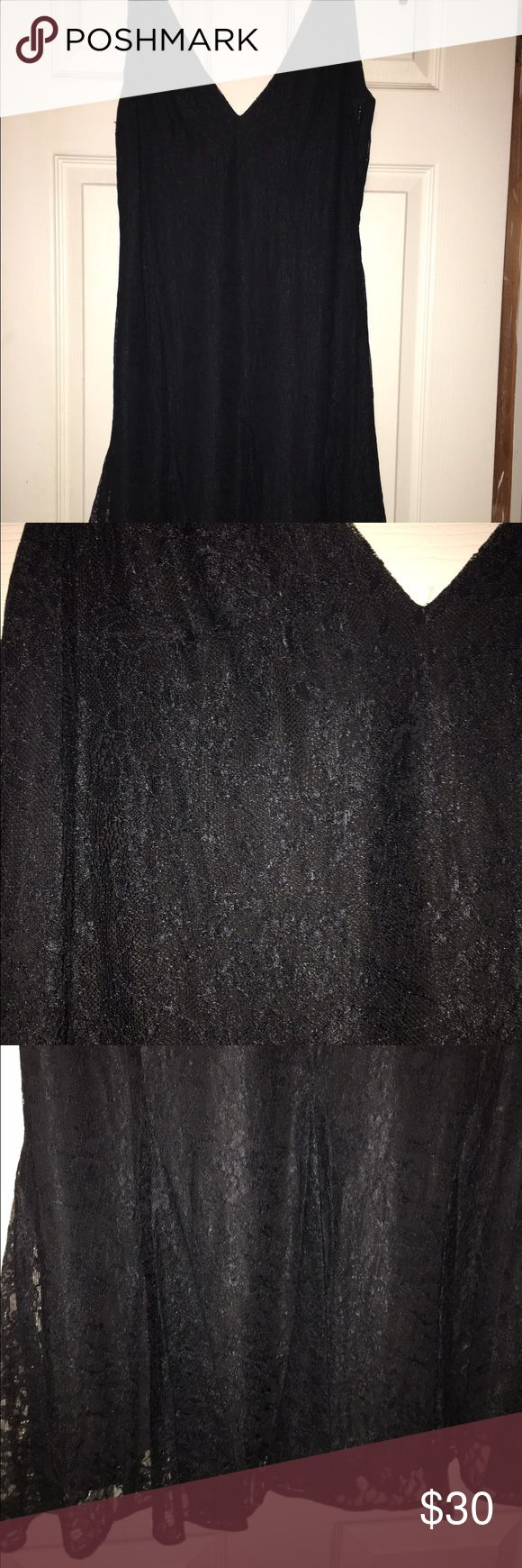 "Lauren Ralph Lauren LBD Little Black Lace Dress Lace with Full Lining. NWOT. 39"" from shoulder to hem. Size 6 TTS Lauren Ralph Lauren Dresses"