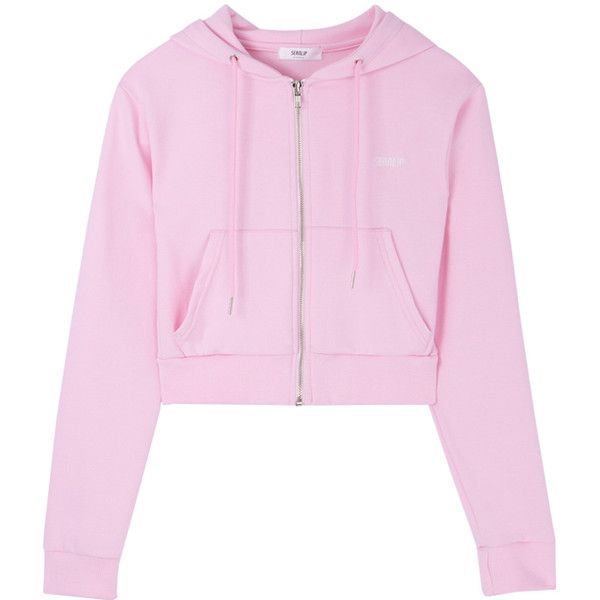 Back Logo Zip-Up Hoodie ($57) ❤ liked on Polyvore featuring tops, hoodies, long sleeve hoodie, pink hooded sweatshirt, zip up hoodie, patterned hoody and long sleeve hooded sweatshirt