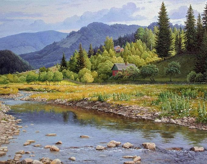 Summer Mountain Landscape Oil Painting Realism Oil Painting Etsy Landscape Mountain Landscape Landscape Paintings