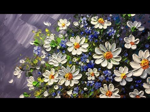Beautiful flowers in basket with Palette Knife - YouTube