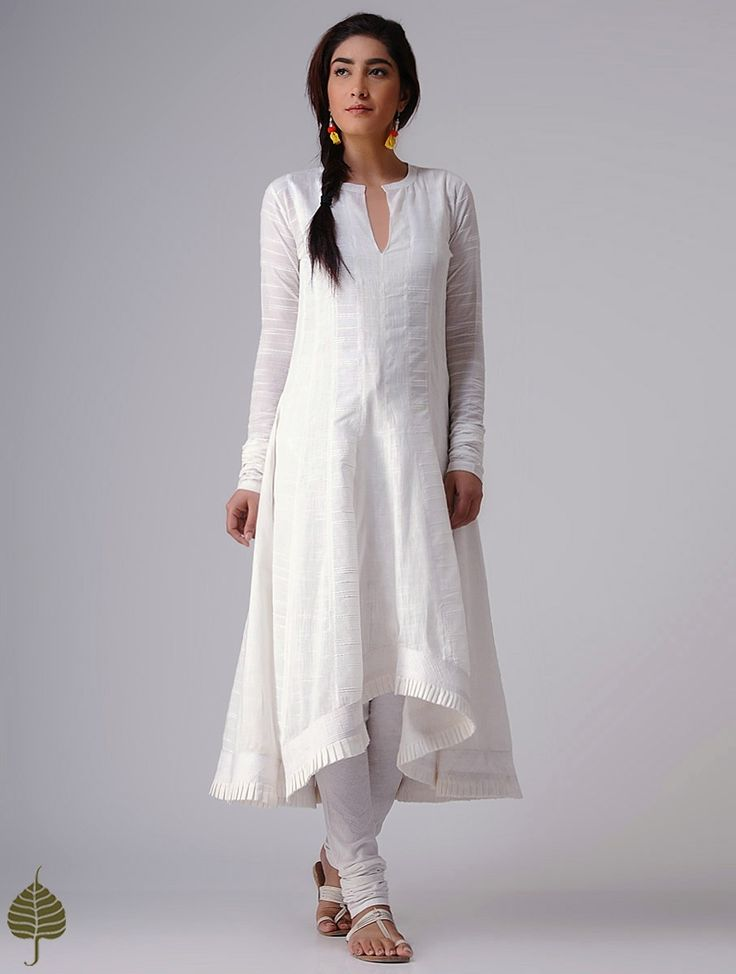 Buy White Murshidabad Handloom Cotton Kurta by Jaypore Women Kurtas Rangrez Celebrate Holi in pants and leheriya sarees dupattas Online at Jaypore.com