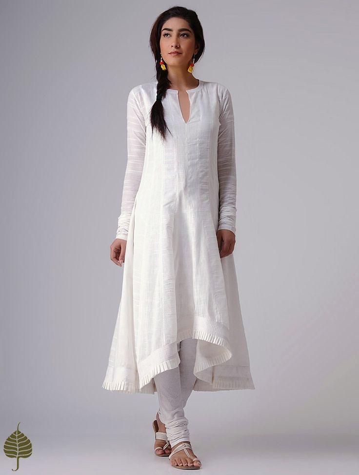 Buy White Murshidabad Handloom Cotton Kurta by Jaypore Women Kurtas Rangrez Celebrate Holi in pants and leheriya sarees dupattas Online at Jaypore.com