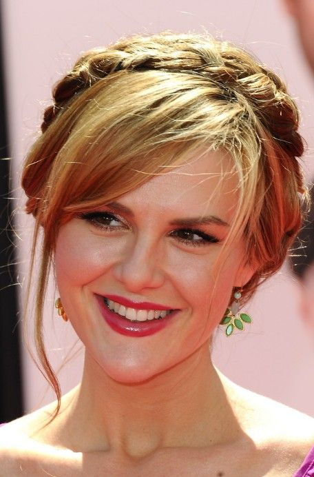 Celebrity Braided Updo with Side Swept Bangs