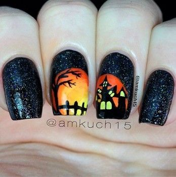 Halloween nail art ideas. We love this one by /amkuch15/! Shop fall nail colors at Duane Reade.