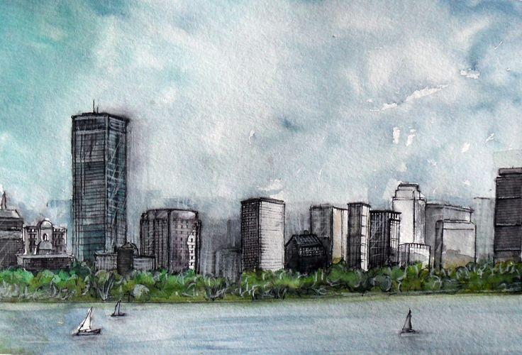 Boston skyline, acquerello e china