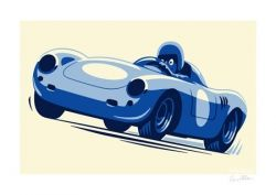 Felix Petrol Porsche 550 signed print