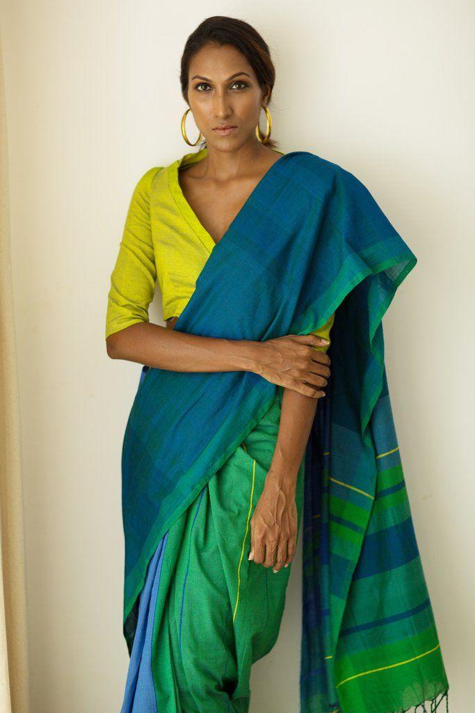 Green Jay Saree from FashionMarket.lk