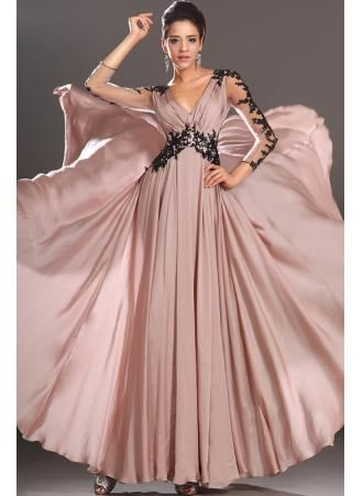 2013 Formal Evening Dresses For Women Long Sleeves Sexy Appliques Empire Long Chiffon Sheer Dress BO1042