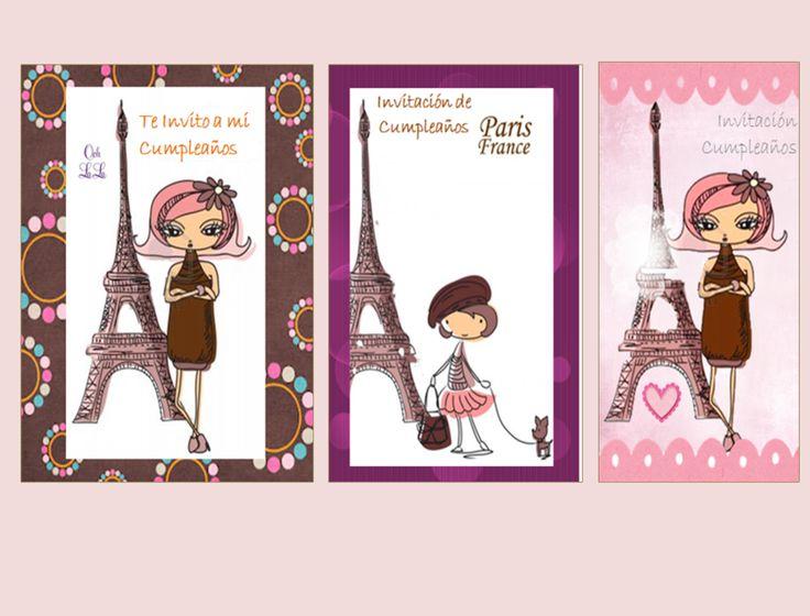 Kit Imprimible Invitaciones Cumpleaños Paris, Torre Eiffel (Tarjetas y Papelería) a VEF 50 en