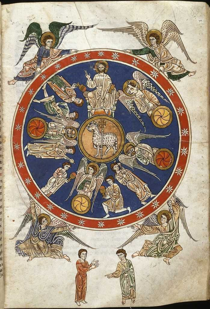Apocalypse, Vision Of The Lamb And The Four Living Creatures. Beatus codex Manchester, s. XII. The Commentary on the Book of Revelation was written by Beatus, Asturian monk, in the year 776.