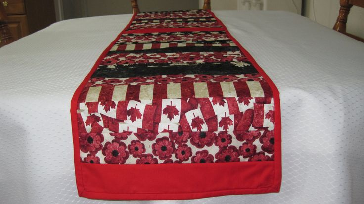 Table Runner, Tablerunner, Canada Day, Canadian Flag, Remembrance Day, Canada, Canadian Pride, Canadiana, Quilted Table Runner, Tab;e Decor by FootlessDesigns on Etsy