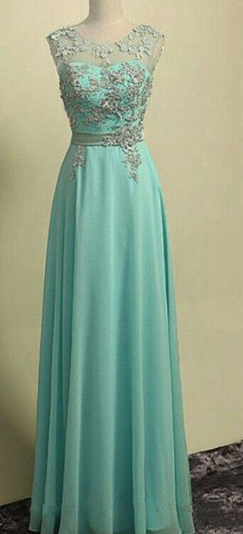 Mint Green Chiffon Long Prom Dress