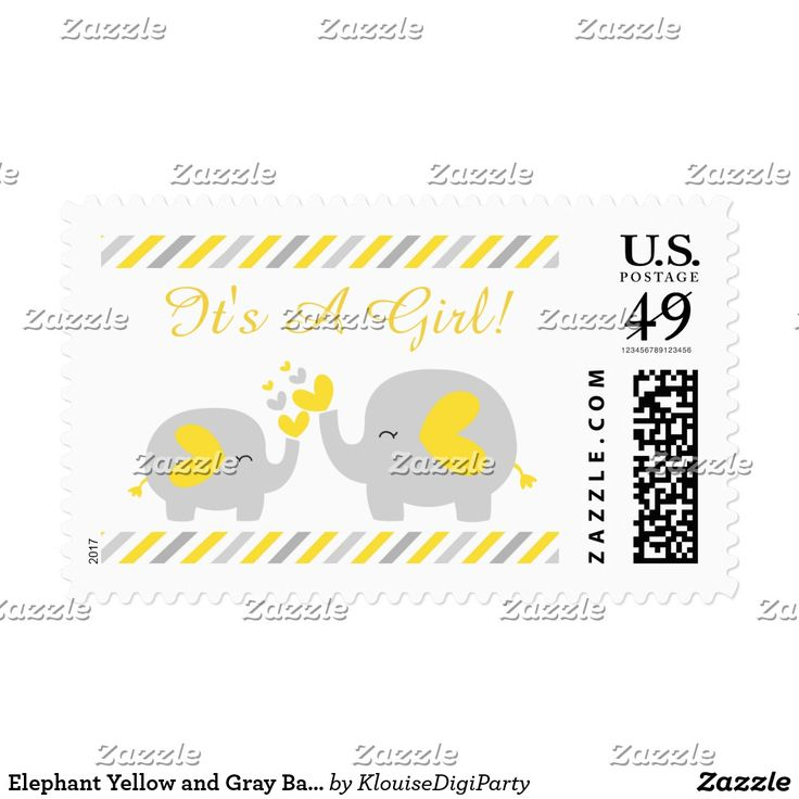 Elephant Yellow and Gray Baby Shower It's A Girl Postage