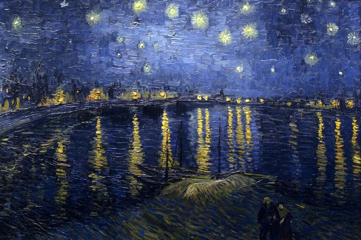 Starry Night by Vincent Van Gogh     This is one of the most recognized paintings nowadays. Van Gogh's Starry Night is a classic painting that invokes emotions from the serenity of the church steeple to the wild abandon of color used for the late night sky.