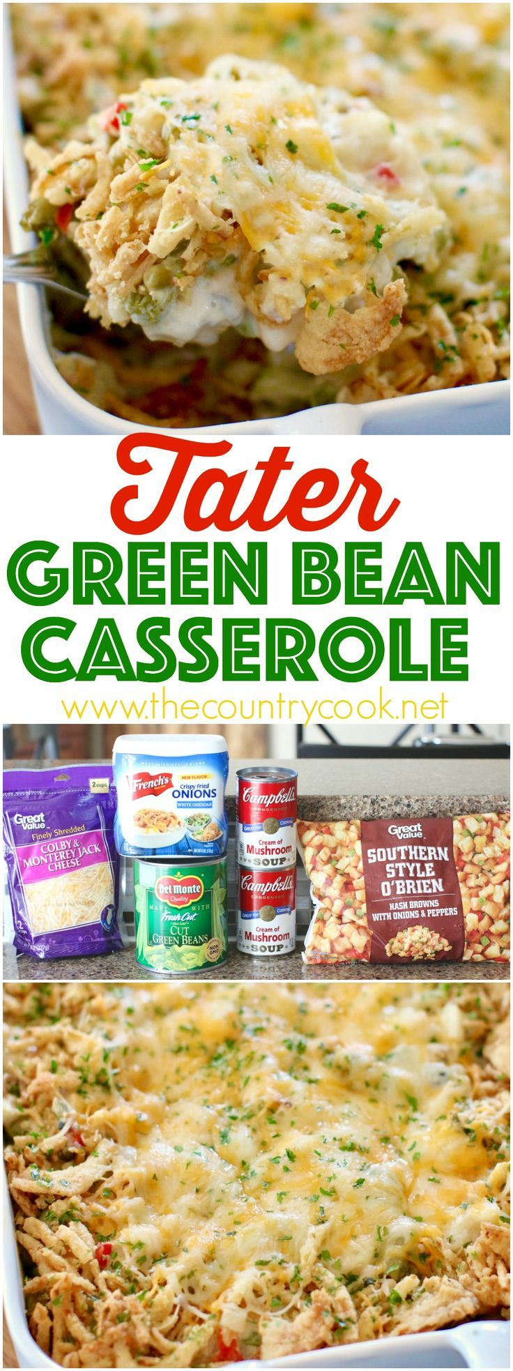 Tater Green Bean Casserole recipe from The Country Cook. All the yummy flavors of our favorite green bean casserole but with a small twist. Perfect for the holidays! #ad #CasseroleCravings