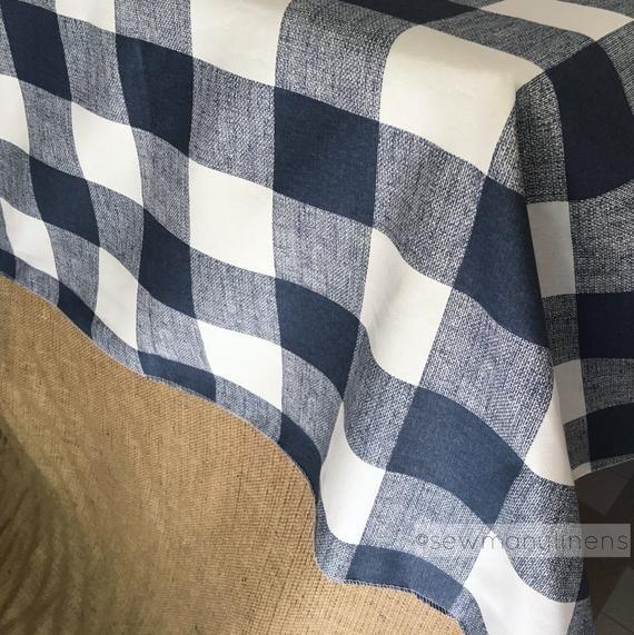 Navy Plaid Tablecloth Table Cover Buffalo Check Table Cloth Overlay Navy Blue Farmhouse Rustic Class Plaid Tablecloth Table Covers Tablecloth Sizes