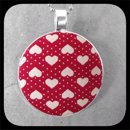 Cream Hearts on Red: Large Bezel Set Pendant