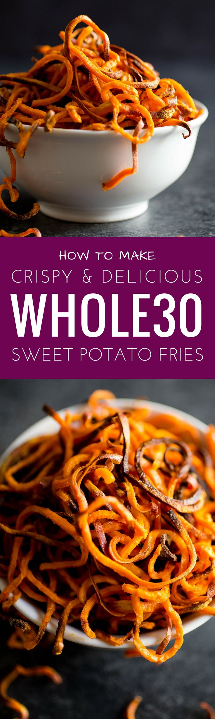 Best Paleo Sweet potato fries. Spiralized sweet potato fries that are made with all clean eating ingredients. Make as a healthy side dish for a burger or other easy dinner. Pin this healthy sweet potato fries recipe to make later!
