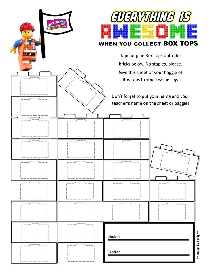 """LEGO Box Tops Collection Sheet, 25ct -- """"Everything is Awesome When You Collect Box Tops"""" -- #BoxTops #btfe #LEGOs"""